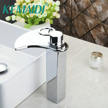 KEMAIDI Bathroom Bath Basin Lavatory Plumbing Fixtures Sink Grifos Tap Mixer Faucet Tall Spout Solid Brass Widespread Waterfall(China)