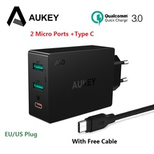 AUKEY Quick Charge 3.0 USB Type C Quick Charger Adapter for Samsung Galaxy S8 LG g5 g6 Xiaomi iPhone Laptop Mobile Phone Charger(China)