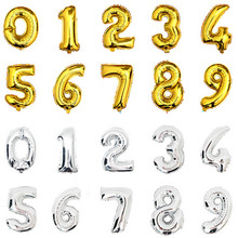 "32inch Gold Silver Pink Blue Number Balloons 0-9 Digit Helium Foil Balloon For Party Birthday Decorations Globas Toys Balony 32""(China)"