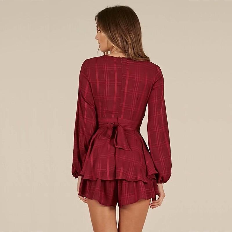 yinlinhe Plaid Short Jumpsuit Women Long Sleeve V neck Sexy Red Playsuit Summer Bow Slim Waist Elegant Ruffles Rompers 8