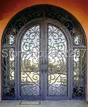 Custom design Wrought Iron Entry Double Doors(China)