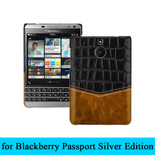For Black Berry Passport 2nd Case Alligator Patterned Genuine Leather Back Case for BlackBerry Passport Silver Edition Cover