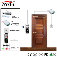 Fingerprint RFID Access Control System Kit Wooden Glasses Door Set+Magnetic Lock+ID Card Keytab+Power Supplier+Button+DoorBell(China)
