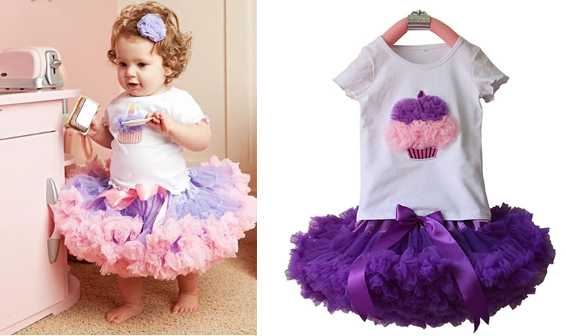 2 PCS Fashion 2017Baby Girl Kids Baby Cupcake T-shirt Top+Skirt Cute Tutu Outfit Dancewear Clothing Set Clothes New Purple Pink <br>
