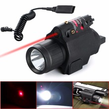 2 in1 Tactical Insight CREE Q5 LED 300 Lumen Red Laser Flashlight Sight Combo For Pistol Gun 3 Modes For 2X3V CR123A Battery