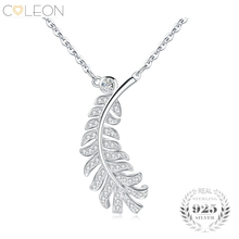 Coleon 925 Sterling Silver Leaf Necklace Dazzling Varies Gemstones Pendant Women Gem Fine Jewelry Party Girlfriend New Year Gift(China)