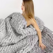 2018 Hand Weaving Photography Props Blankets Crochet Llinen Soft Knitting Blankets Soft Thick Line Giant Yarn Knitted Blanket(China)