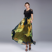 2017 Summer Vintage Maxi Dress Women Ladies Casual Day Party Long Dresses Hollow Out Short Sleeve Black A-line High Quality