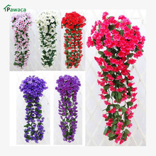 Hot artificial flowers tulips Leafy Violet Artificial Silk Fake Flower Vine Rattan Home Outdoor Decor quality artificial flowers(China)