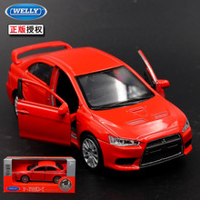 1pc 1:36 11.5cm delicacy WELLY Mitsubishi Lancer EVO car pull back alloy model home collection decoration boy toy gift(China)
