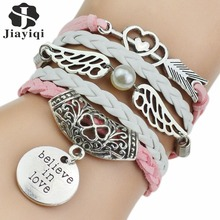 7 Colors 2017 New Fashion Leather Bracelets & Bangles Silver Owl Tree Love Bracelets for Women Men Hot Sale Fashion Jewelry
