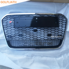 RS6 Styling Auto ABS black painted Front Bumper Racing Grill Grille with quattro for Audi A6 & S6 & RS6 Sedan 4-Door 2013-2015(China)