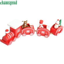 CHAMSGEND Modern Toys for Children 4 Pieces Wood Christmas Xmas Train Decoration Decor Gift Christmas Stage Set Kids Toys WOct19