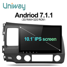 uniway ALSY1071 2G+32G android 7.1 car dvd for honda civic 2006-2011 2008 car radio gps navigation support steering wheel(China)