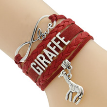 Waxed Cord And Braided Cord  Bracelets  Wording GIRAFFE 5 Colors Europe Style  Drop Shipping PayPal Payment