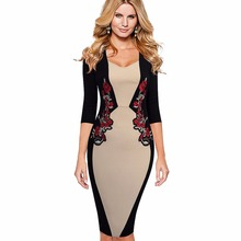 Women Elegant Colorblock Contrast Vintage Classic Embroidery Bodycon Pencil Dress EB359