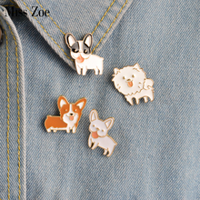 Miss Zoe 8 pcs/ensemble Chiot Chien Langue Shiba Pomeranin Corgi Bouledogue Roquet Labrador Broche Bouton Broches Denim Veste Pin Badge bijoux