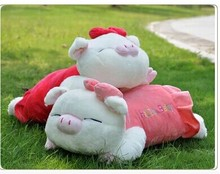 Stuffed animal 42cm lying pig plush toy pink or red doll throw pillow gift w2765(China)
