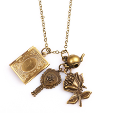 Beauty and the Beast Necklace Retro Phase Box Mrror Flower For Valentines Day Gift Colar Necklace Pendant For Women Man