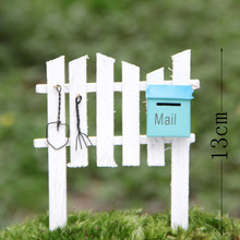 Action Figure random Miniature Artificial Fence Mailbox Micro Landscaping 13cm PVC decoration garden Doll Model Anime(China)