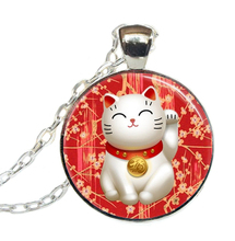 2017 New Lucky Cat Necklace Red Maneki Pendant Good Luck Chains Art Glass Dome Jewelry Round Trendy Necklaces