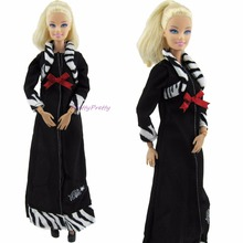 Limited Edtion Black Dress With Deep Red Bowknot Zebra Stripes Gown Princess Wear Clothes For Barbie Doll FR Doll Dollhouse Gift