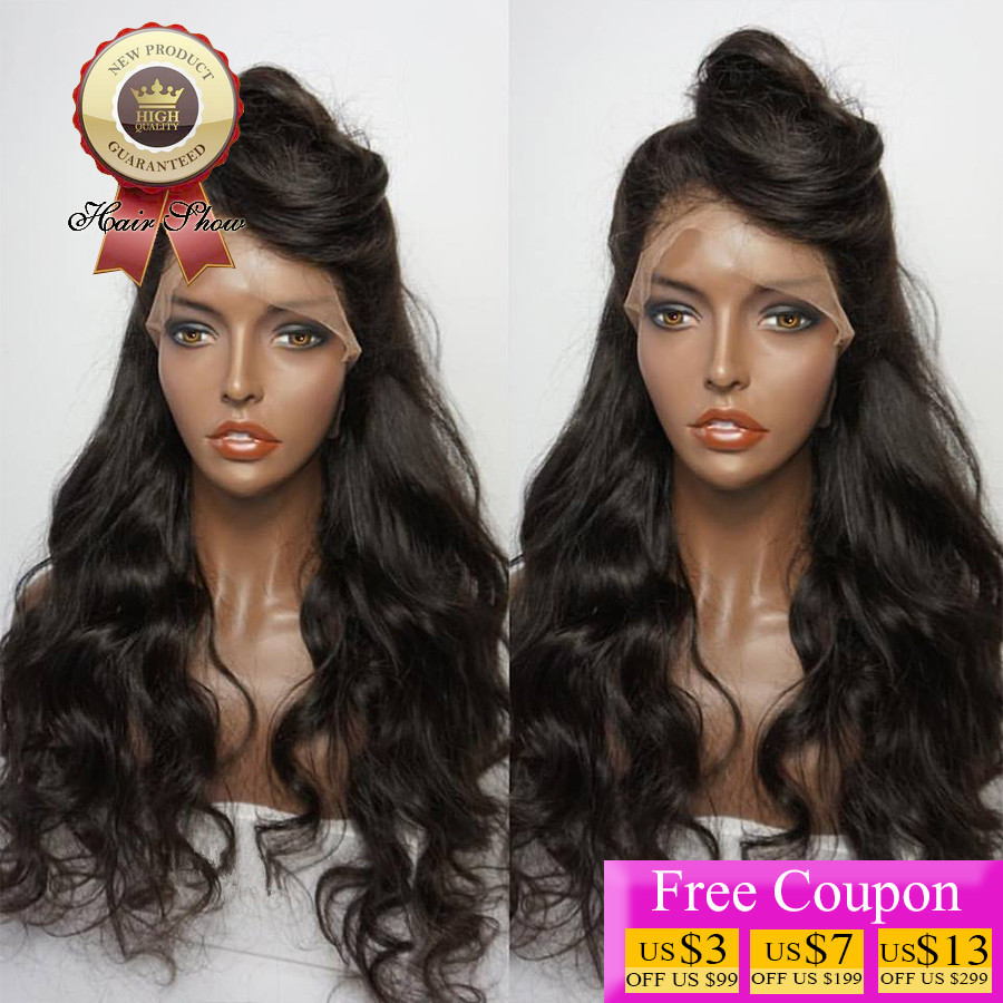 8A Brazilian Virgin Hair Lace Front Wig Body Wave Front Lace Human Hair Wigs For Black Women 130 Density Natural Color Lace Wig<br><br>Aliexpress
