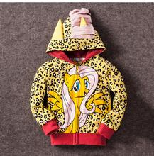 New 2016 My Girl Hoodie With Wings Back Little Cartoon Jacket Sweatshirt for Girls Spring Coat with Hat Children Pony Clothing