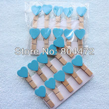 600x Blue Peach Heart Love Wooden Pegs Set Paperclips for Home Wedding Decor | Craft projects | Gift wrapping Packaging