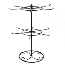 Double Tier Metal Rotating Jewelry Stand Earring Necklace Display Holes Holder Rack @M23