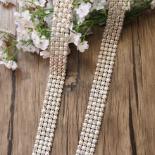 Free Shipping 5 yards 4rows Crystal Rhinestone&Pearl Mesh Trim, Rhinestone Applique,Wedding Applique,Rhinestone Chain LSRT12191