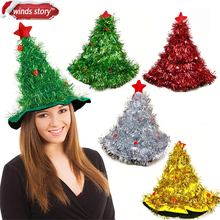 Tinsel Christmas Tree Hat On 1pc Headband Father Christmas Xmas Party Santa Fancy Dress Costume Hat Holiday decorations Headgear(China)
