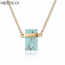 MESTILO Summer Marbled Stone Pendant Necklace For Women Gold Color Geometric Square Natural Stone White Howlite Necklaces Gift(China)