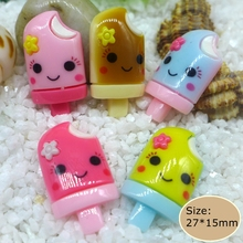 Kawaii Smile ice cream flatback resin cabochon for phone deco  hair bow diy  Embellishment Free Shipping!