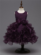 Purple Girls' Pageant Dresses Kids Prom Dance Party Dress Princess Ball Gowns Puffy Tulle Tutu Graduation Teenage Girl Clothes