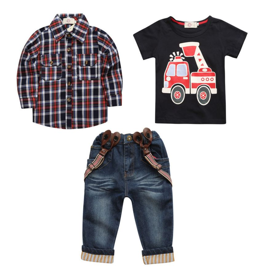 summer kids boy clothes,children Clothing Set Grid long sleeve shirt and T-shiert  Jeans boys clothing