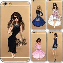Cases For iphone 7 7plus 6 6s plus 5 5s SE 5c 4 4s Fashion Dress Shopping Modern Girls Painted TPU Clear Soft Silicon Phone Case(China)