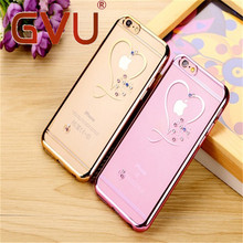 For iphone 6 Case Ultra Thin Soft And Clean TPU Crystal Phone Case Pink Gold Plating Glitter Diamond Cover For iphone 6 6 S 6 Pl