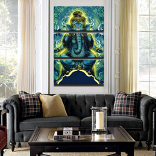 Canvas Modular Pictures Unframed Wall Art 3 Panel Ganesha Elephant HD Print Painting Fashion For Living Room Decoration Poster(China)