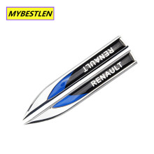 3D Metal Side Wing Badge Emblem Fender Car Sticker for Renault Renault koleos Twingo Scenic Megane Fluenec Clio Car Styling
