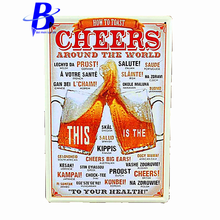 Custom Neon Sign CHEERS Around The World Metal Tin Signs Vintage House Cafe Restaurant Beer Poster Wall Art Craft Metal Painting(China)