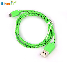 Binmer New Hot Selling Hemp Rope Micro USB Charger Charging Sync Data Cable Cord for Android Phone for Samsung Jun28
