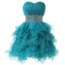 Real Turquoise Juniors Short Cocktail Party Dresses Sweetheart Beaded Ruched Knee Length Prom Cocktail Dresses Informal