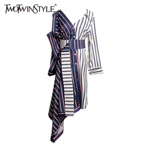 TWOTWINSTYLE Asymmetrical Shirt Dress Women Off Shoulder Striped Sexy Dresses Female with Wide Belt Patchwork Clothing Autumn(China)