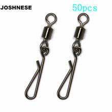 JOSHNESE 50pcs Fishing Swivels Rolling Swivel Interlock Snap Size 8/6/4/2 Hook Lure Connector Terminal Tackle Swivel Fishing