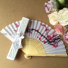 Free shipping 50Sets/Lot Personalized Wedding Date & Names Plum flower Chinese Silk Hand Fan with Luxury Gift Box for Wedding