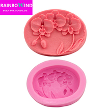 Adorable DIY Silicone Mold 3D Orchid flower Shape Fondant Cake Decorating Tools Soap Moulds Sugar Art Tools