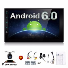 "7"" Android 6.0 RAM 1G touch screen Quad core 2 DIN universal car radio gps with wifi BT stereo audio NO DVD PLAYER(China)"