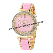 Wholesale Geneva Double Rhinestone Women Watch Hot Sale Alloy Watches Geneva Hot Sale Women Metal Dress Quartz Wristwatches 2008(China)