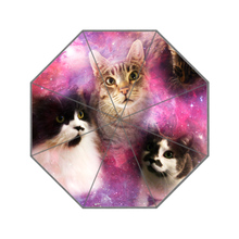 Cute The Three Space Cats Custom Portable Folding Travel Design Rain and Sun Beach Umbrellas Hat Unique Parasol Umbrella